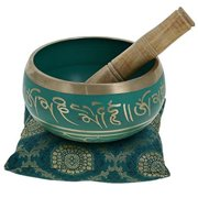 5.5 Inches Hand Painted Metal Tibetan Buddhist Singing Bowl Musical Instrument for Meditation with Stick and Cushion