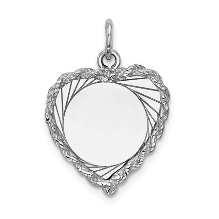 Roy Rose Jewelry 14K White Gold Etched Design .013 Gauge Engravable Heart 18x16mm Charm