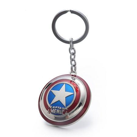 North Silver Shield - Marvel Comic Captain America Shield Key Chain Ring Keychain