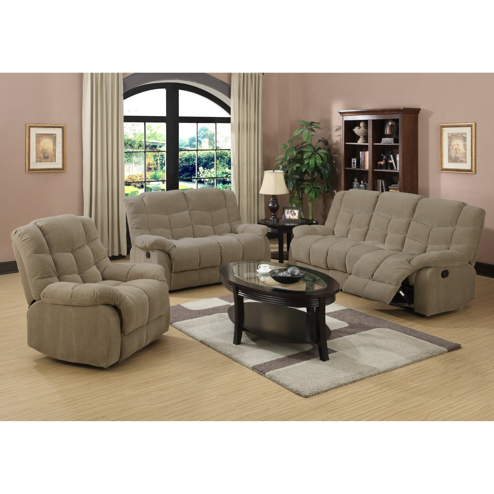 Sunset Trading Heaven On Earth 3 Piece Reclining Living Room Set - Tan