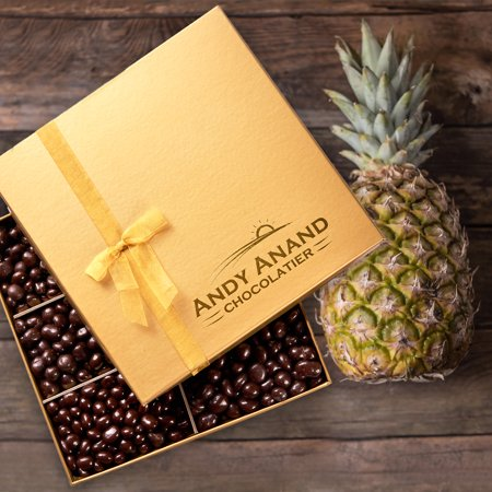 Andy Anand's Chocolates- Freshly Farmed Pineapples Covered In Brazilian Rich Dark Chocolate, Greeting Card Comes in Gift Basket, Natural and Properly certified (Made from Natural Ingredients) Chocolate Natural Gift Basket