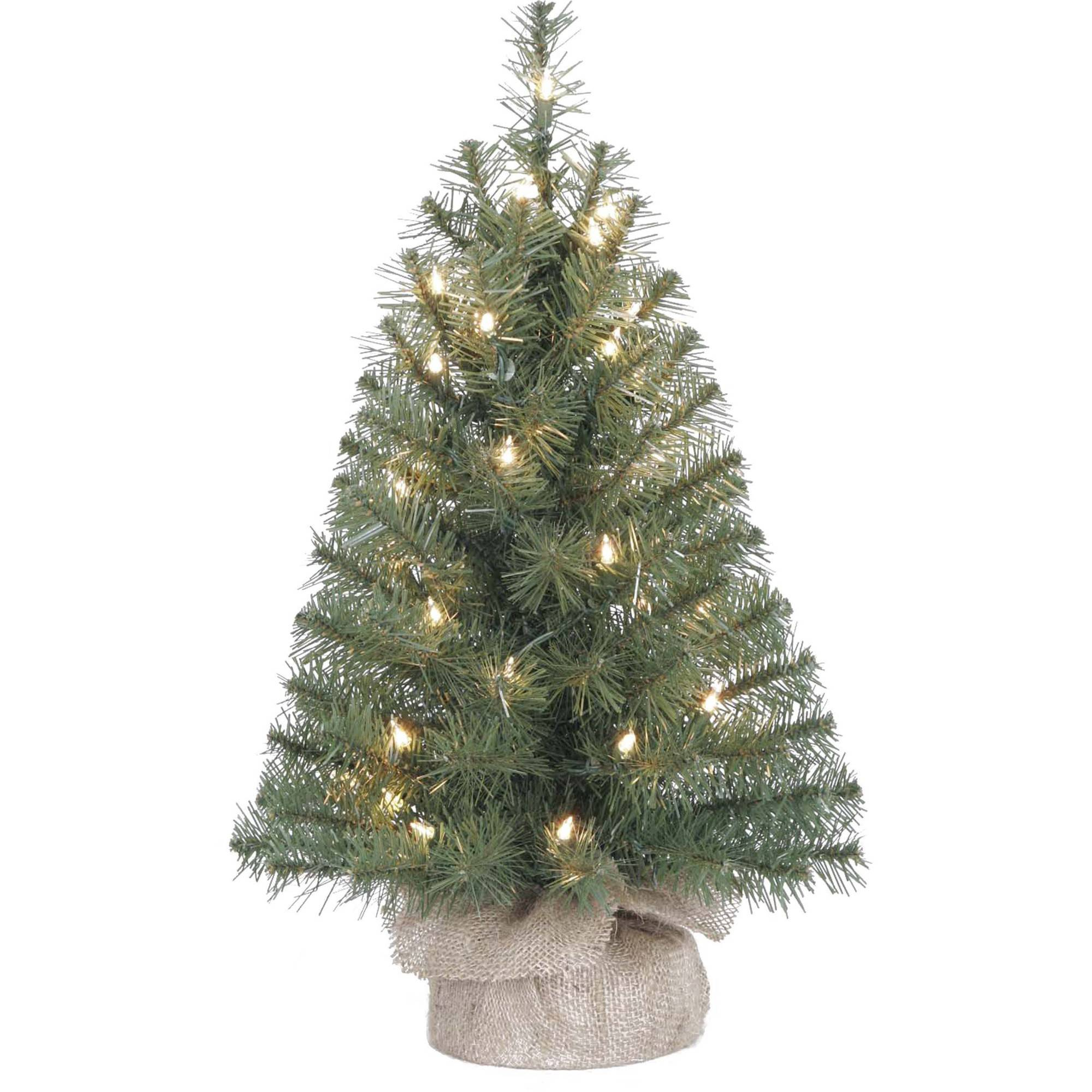Holiday Time Pre-Lit 2' Noble Fir Artificial Christmas Tree, Clear Lights