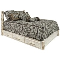 Montana Collection King Platform Bed w/ Storage, Clear Lacquer Finish
