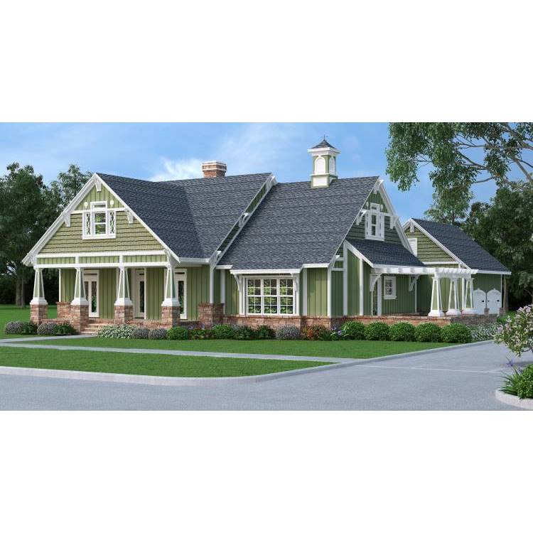 TheHouseDesigners-9358 Craftsman Farm House Plan with Crawl Space Foundation (5 Printed Sets)
