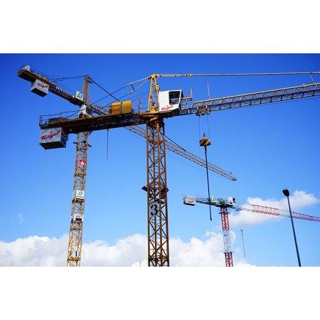 Canvas Print Load Lifter Site Baukran Build Sky Cranes Stretched Canvas 10 x 14