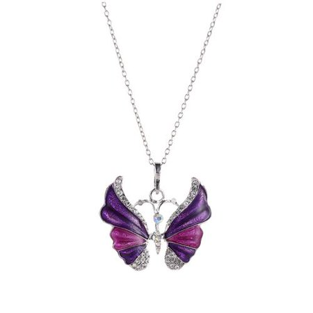 KABOER Retro Butterfly Crystal Rhinestone Pendant Necklace Long Chain Women Hot Jewelry Red Coral Butterfly Necklace