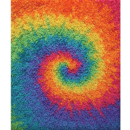 "Caron Shaggy Latch Hook Kit, 20"" x 25"", Tie Dye Swirl"