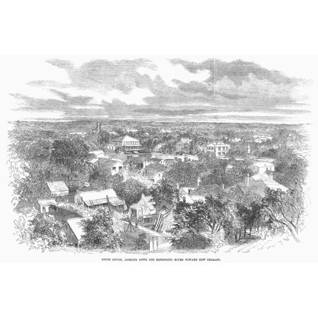 Baton Rouge 1862 Nview Of Baton Rouge Louisiana Looking Down The Mississippi River Toward New Orleans Wood Engraving 1862 Poster Print by Granger (Down The Mississippi Down To New Orleans)