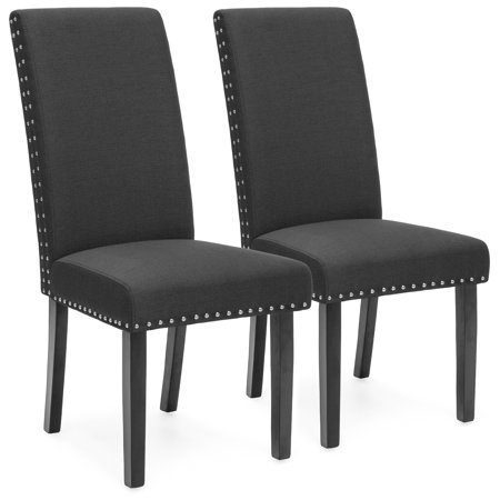 Best Choice Products Faux Leather Upholstered Nail Head Studded Parsons Dining Chairs, Set of 2, Gray ()