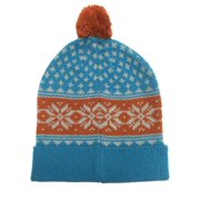Aquarius Boys Nordic Blue Snowflake Beanie Pom Pom Hat Stocking Cap