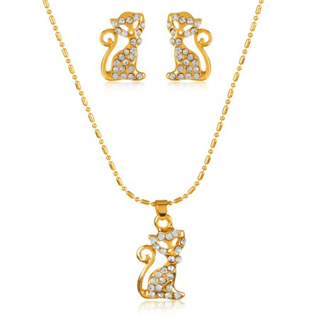 - Gold Tone Crystal Cat Pendant Necklace and Stud Earrings Jewelry Set
