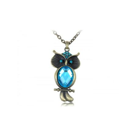 Blue Zircon Crystal Owl Special Perched Tree Branch Pendant Necklace