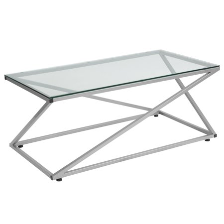 Park Avenue Collection Coffee Table with Contemporary Steel -
