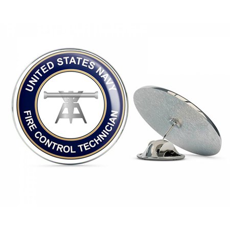 """US Navy Fire Control Technician Round FT  Military Veteran USA Pride Served Gift Metal 0.75"""" Lapel Hat Pin Tie Tack Pinback"""