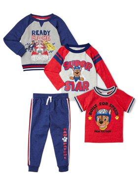 Paw Patrol Toddler Boy Long Sleeve T-Shirt, Short Sleeve T-shirt, Sweatshirt & Jogger Pant, 4 pc Outfit Set
