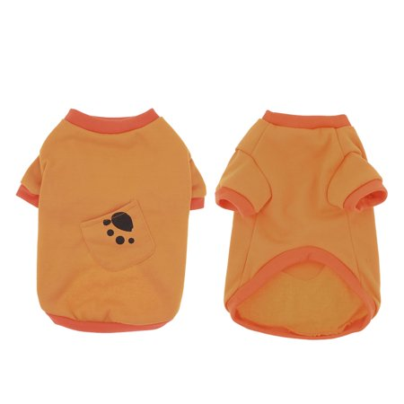 Unique Bargains Paw Print Doggie Pet Dog Cat Warm Apparel Jacket Shirt Coat Orange M Paw Dog Shirt