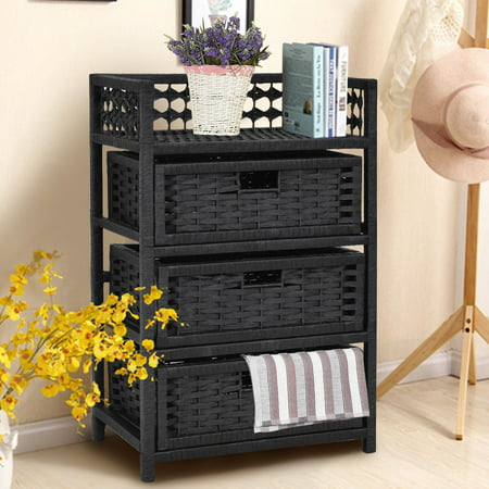 Costway 3 Drawer Storage Unit Tower Shelf Wicker Baskets Storage Chest Rack Black ()