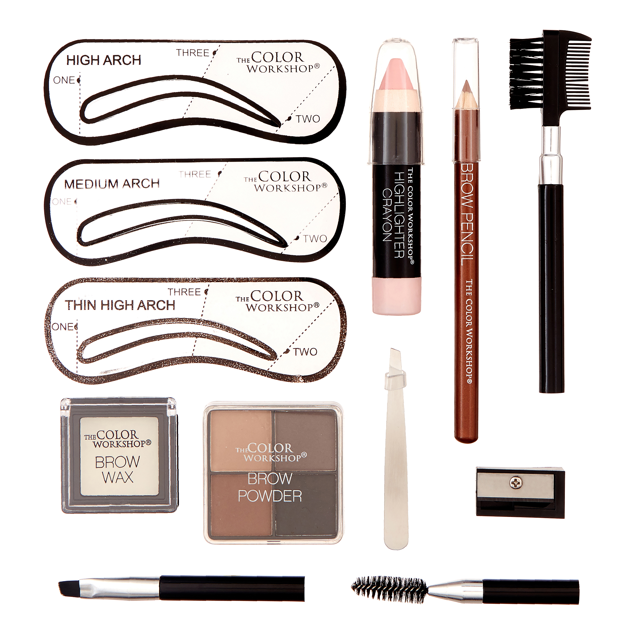 The Color Workshop Wow Wow Brows Grooming Kit, 15 Pieces