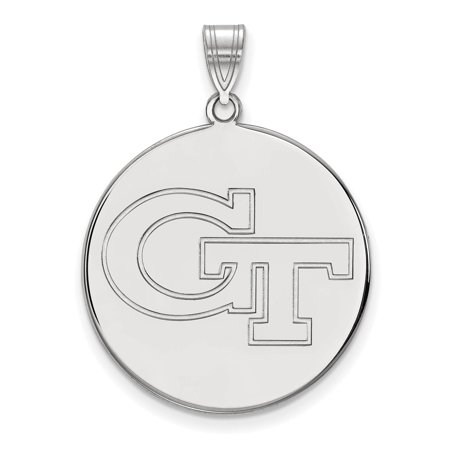 925 Sterling Silver Laser Cut Georgia Institute Of Technology Xl Disc Pendant