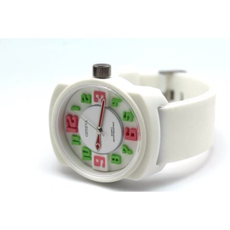 Authentic White Geneva Unisex Multi Color Watch 26 mm Silicon Rubber Strap Big