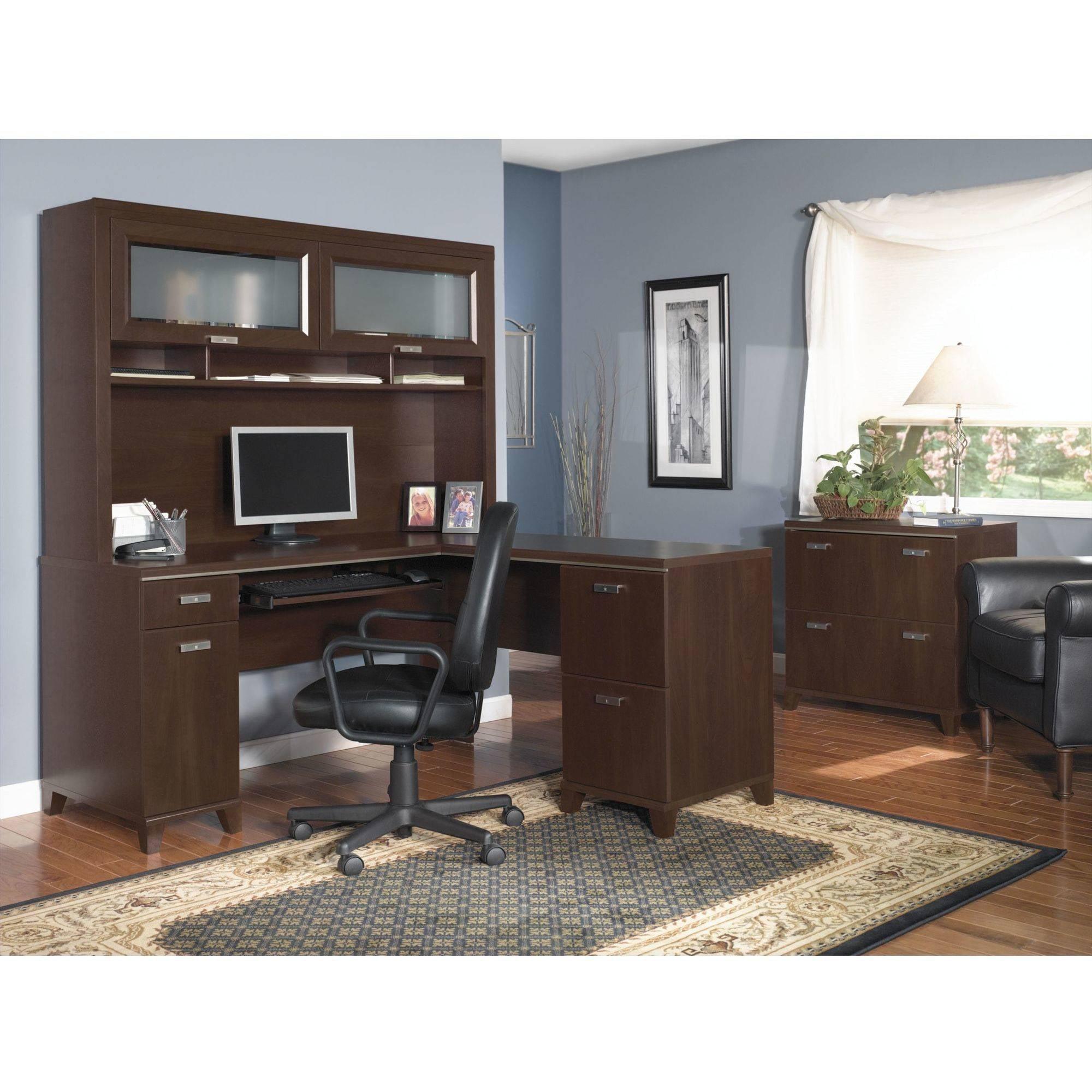 Bush Furniture Tuxedo L Shaped Desk With Hutch In Mocha Cherry Com