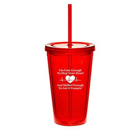 16oz Double Wall Acrylic Tumbler Cup With Straw Cute Skilled Nurse - Cute Straws
