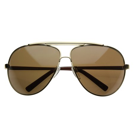 zeroUV - High Quality Full Frame Big X-Large Oversized Metal Aviator Sunglasses - (Cheap Big Sunglasses)