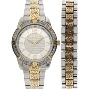 Men's Two-Tone Silver Dial Watch and Bracelet Set