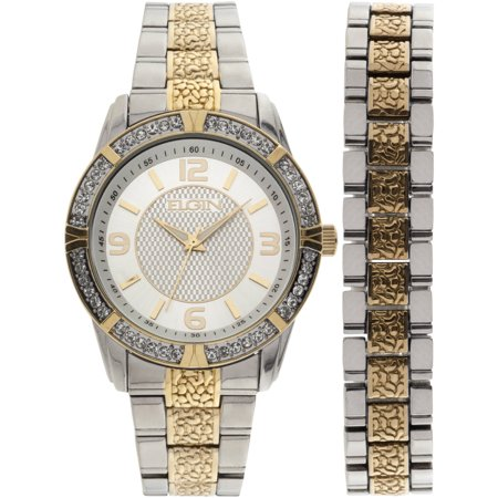 Men S Two Tone Silver Dial Watch And Bracelet Set