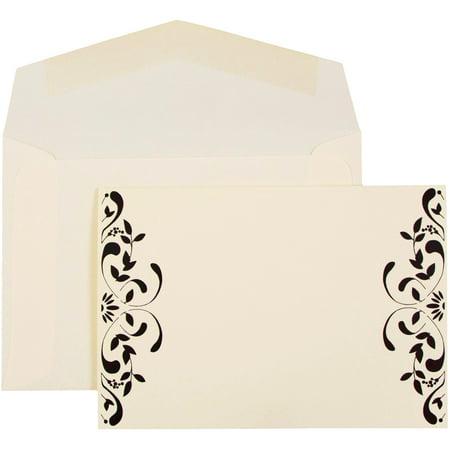 JAM Paper Wedding Invitation Set, Small, 4 7/8 x 3 3/8, Floral Square Set, Ecru Floral Accessory Cards with Ecru Envelopes, 100/pack