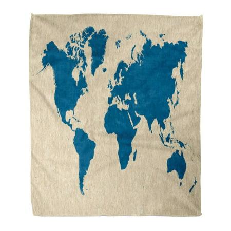 Mhp Cream (ASHLEIGH Flannel Throw Blanket Beige Aged Blue World Map on Cream America Australia Borders Cardboard 58x80 Inch Lightweight Cozy Plush Fluffy Warm Fuzzy Soft)