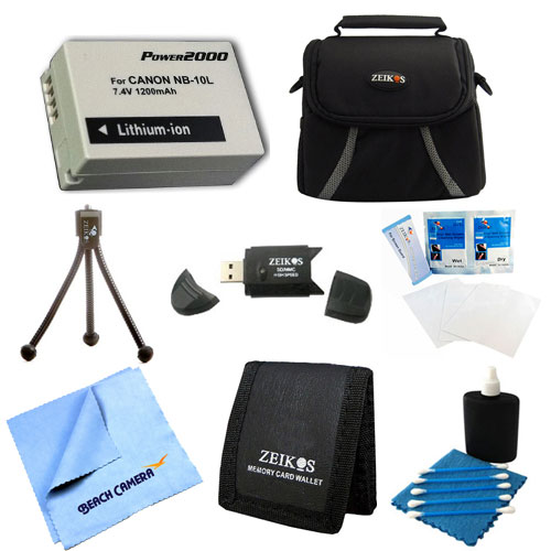 Special Loaded Value NB-10L Battery Kit For Canon Powershot SX40,SX50, G15 & G1X - Includes NB-10L Replacement Battery, Carrying Case, USB 2.0 Card Reader, Mini Tripod, 3 Card Memory Card Wallet, Clea