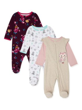 Wonder Nation Baby Girl Cotton Inverted Zipper Sleep 'N Play Pajamas, 3-Pack