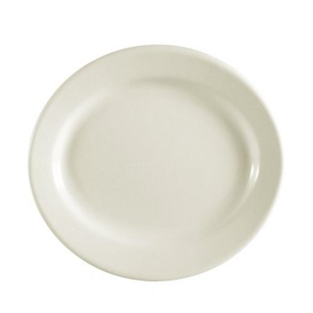 CAC China REC-13 Rolled Edge 11-1/2 by 8-1/4-Inch Stoneware Oval Platter, American White, Box of 12