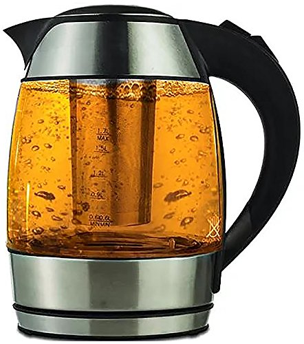 1.8-liter Electric Cordless Tempered Glass Teakettle with Infuser Make Perfect Tea in one Step by