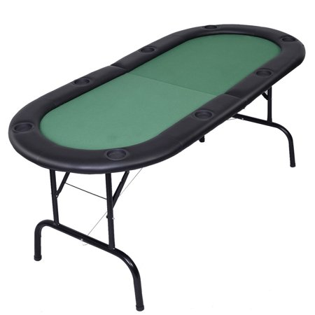 Costway Foldable 8 Player Poker Table Casino Texas Holdem Folding Poker Play