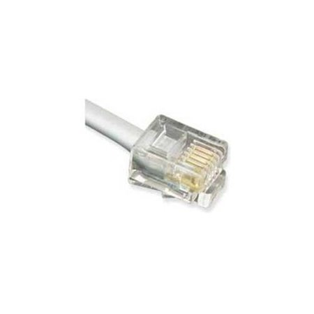 ICC Line Cord, 6P4C, Pin 2-5, 25 Ft - for Phone - 25 ft - 1 x RJ-11 Male Phone - 1 x RJ-11 Male Phone - Gold-plated Contacts - Satin Silver, Clear