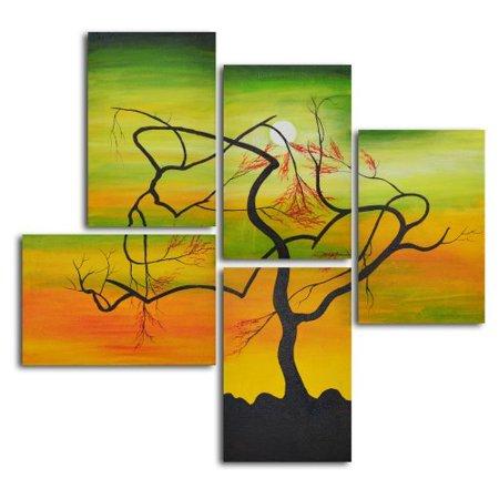 Serpentine Tree Panels 5-Piece Oil Painted Wall Art Set