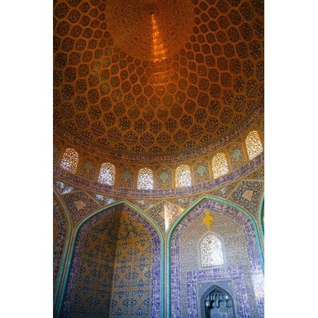 Interior of the dome of Sheikh Lotfollah Mosque, Isfahan, Iran, Middle East Print Wall Art By James Strachan