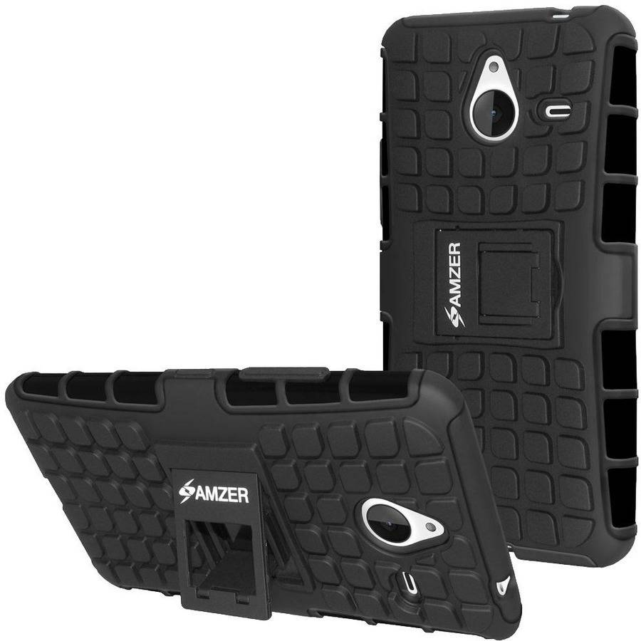 Amzer Impact-Resistant Hybrid Warrior Case with Kickstand for Microsoft Lumia 640 XL, Black