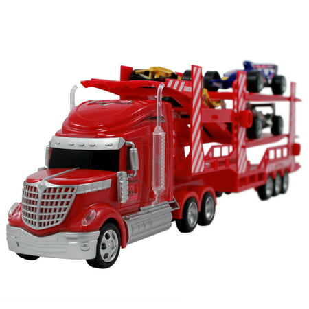 Rc Race Car Transport Carrier Remote Control Semi Truck Toy