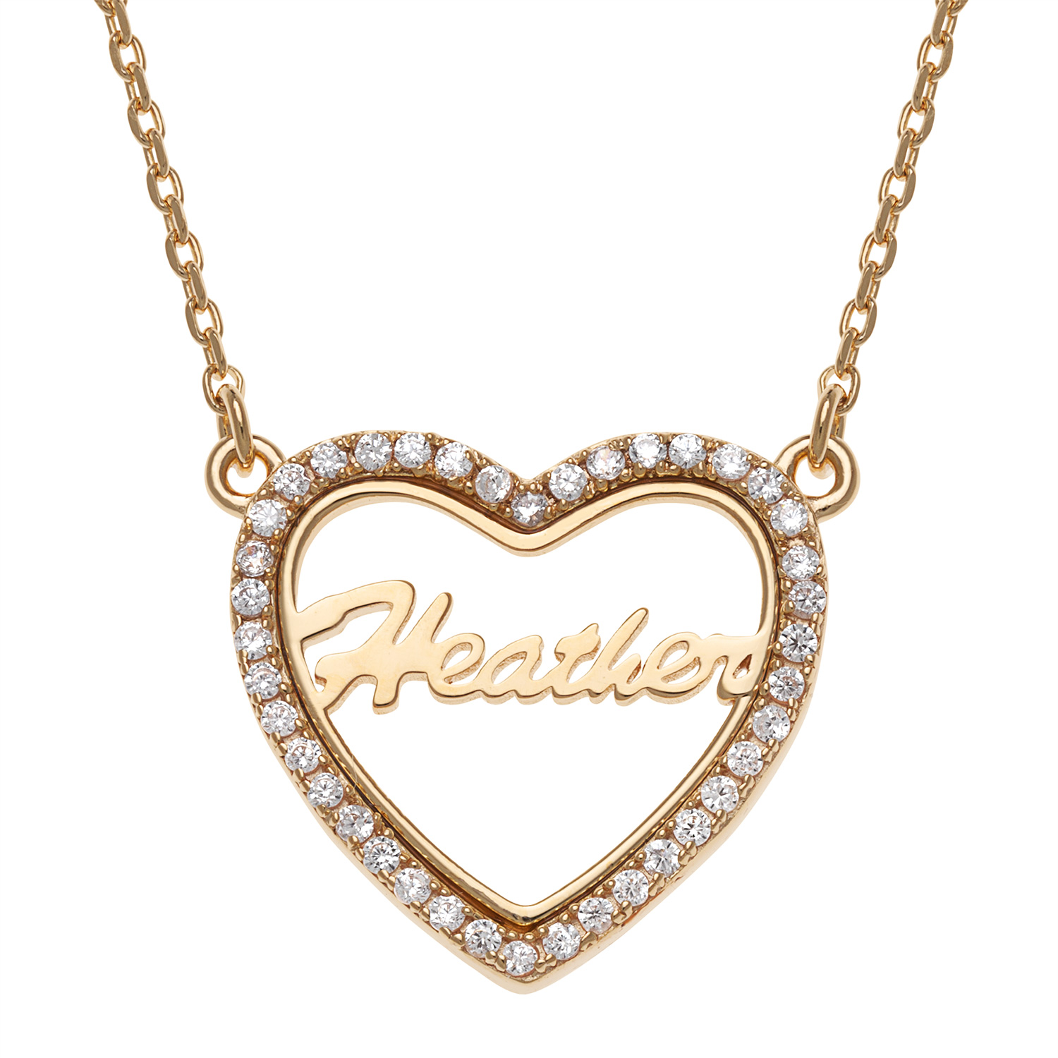 """Personalized Women's Sterling Silver or Gold over Silver Open Heart Name with CZ Necklace, 18"""""""