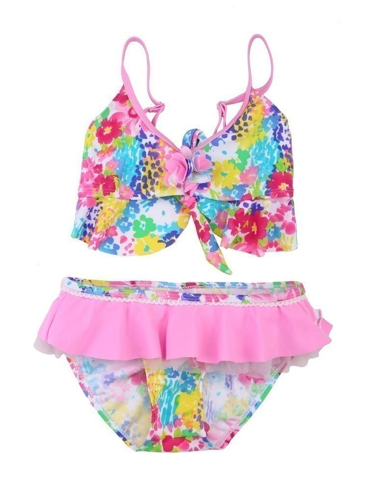 Sun Emporium Little Girls Pink Floral Monet Print Frill 2 Pc Bikini Swimsuit 4