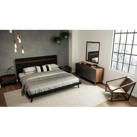 Modern Grey Fabric & Walnut Queen Size Bedroom Set 5 Pcs VIG Nova Domus Dali