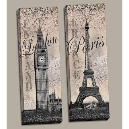 - Gango Home Decor Paris Eiffel Tower and London Big Ben Travel Monument Wall Art by Todd Williams; Two Black and White 8x20in Hand-Stretched Canvases (Ready to Hang)