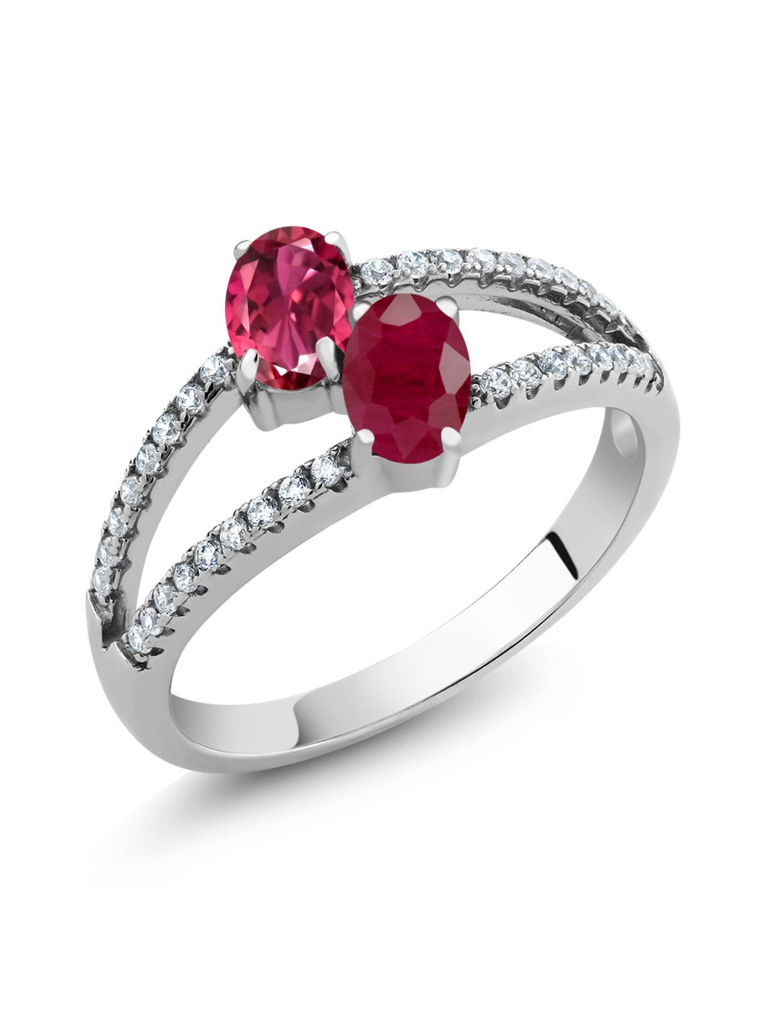 1.51 Ct Oval Pink Tourmaline Red Ruby Two Stone 925 Sterling Silver Ring by
