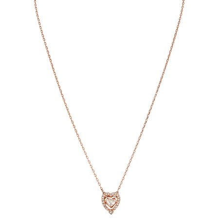Swarovski Rose Necklace (Swarovski Sparkling Dance Heart Necklace White Rose Gold Plating 5284188)