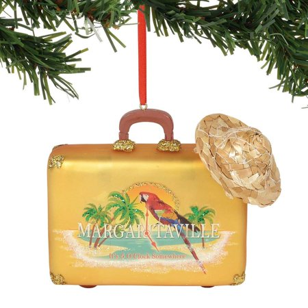 Department 56 Margaritaville Suitcase Glass Christmas Tree Ornament 6000441 New