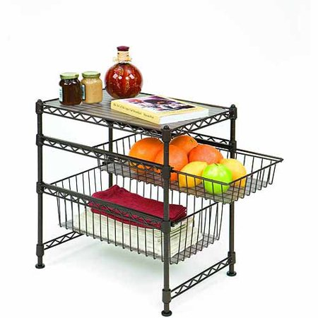 Seville Classics Stackable 3-Tier Sliding Double Basket Cabinet Organizer with Bonus Liners, Satin Bronze