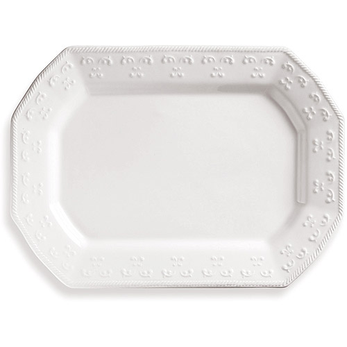 """Better Homes and Gardens 14"""" x 10.25"""" Ivory Scroll Serving Platter"""